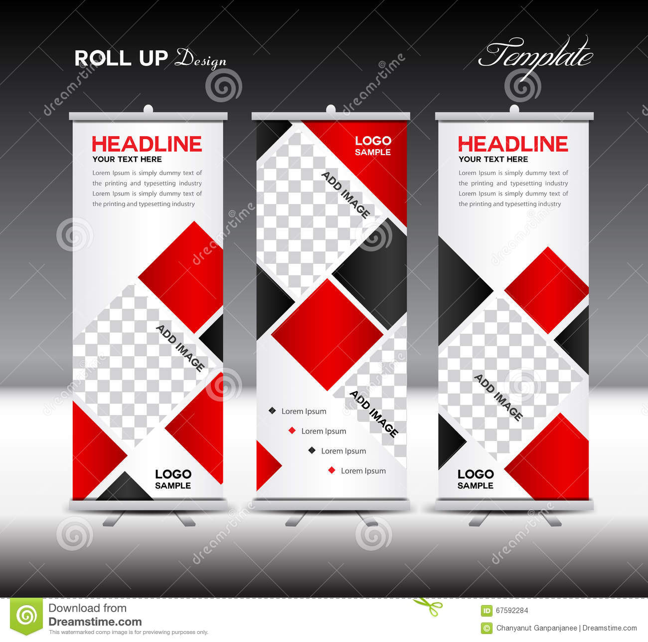 Exhibition Stand Vector : Red roll up banner template vector illustration polygon