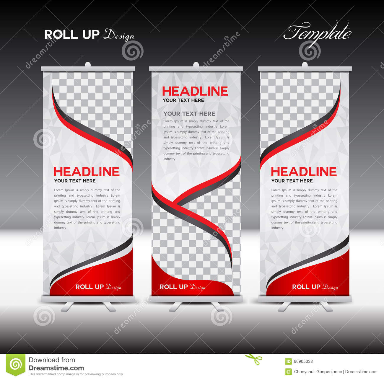 Red Roll Up Banner Template Vector Illustration Stock