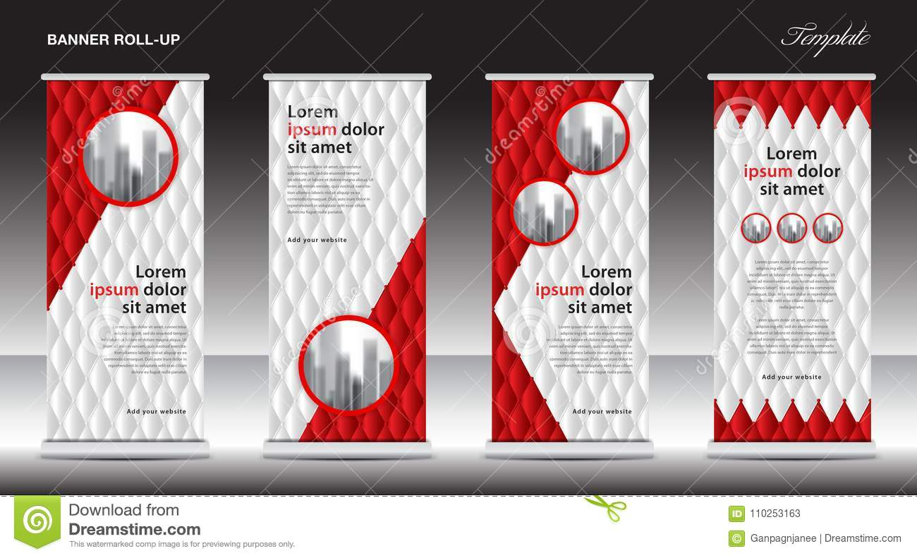 Red Roll Up Banner template vector illustration, polygon background, standy design, display, advertisement
