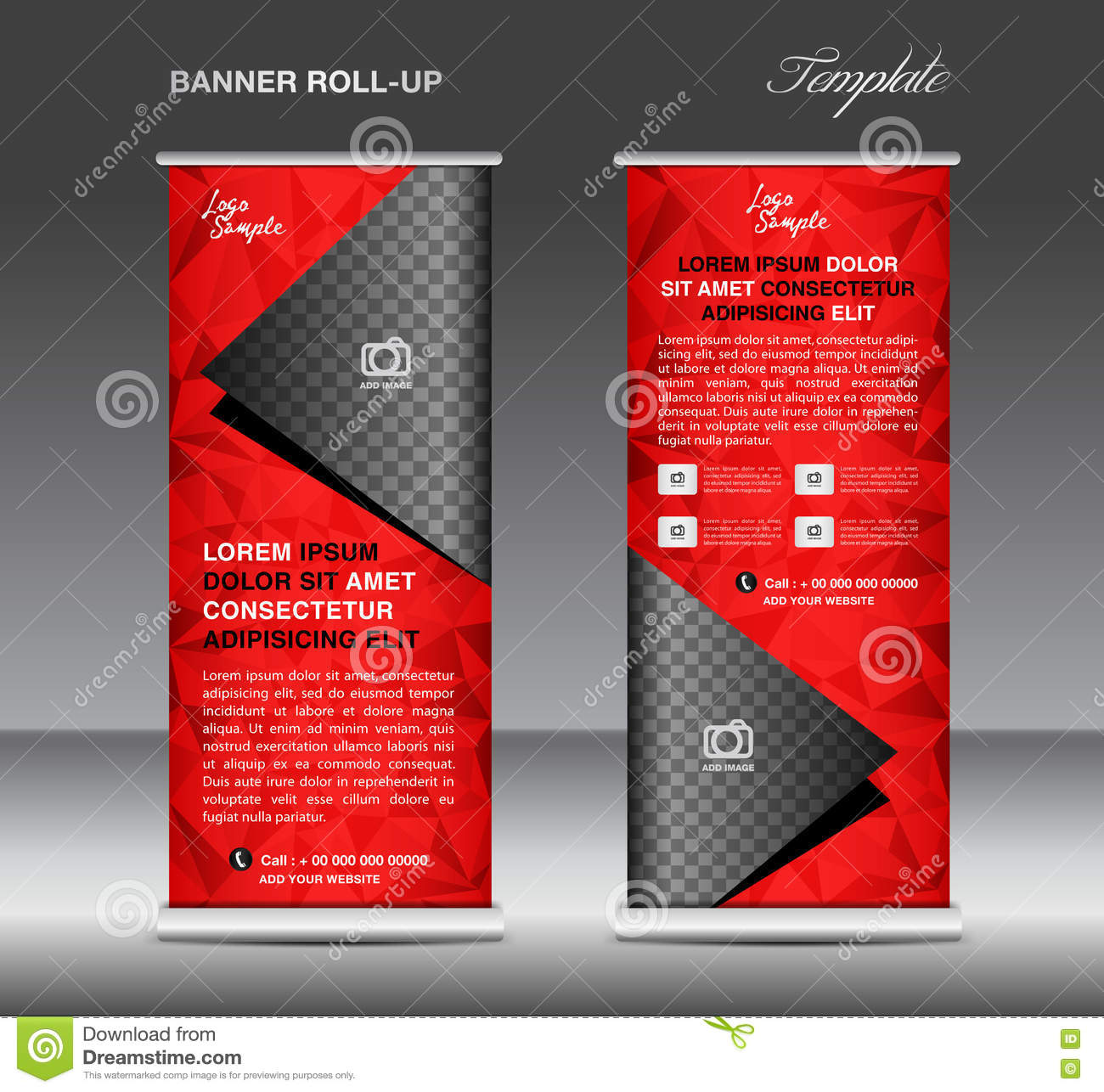 Exhibition Booth Design Vector : Red roll up banner template vector stand flyer design