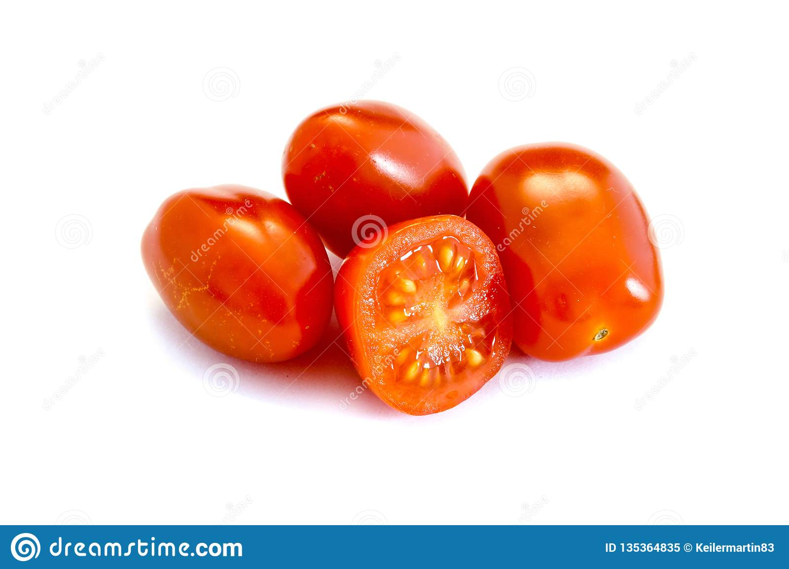 Red Roma tomatoes isolated on white background