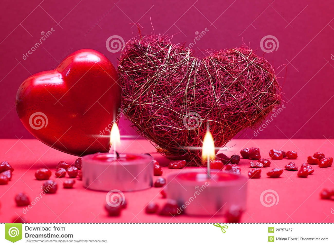 red romantic background with hearts royalty free stock