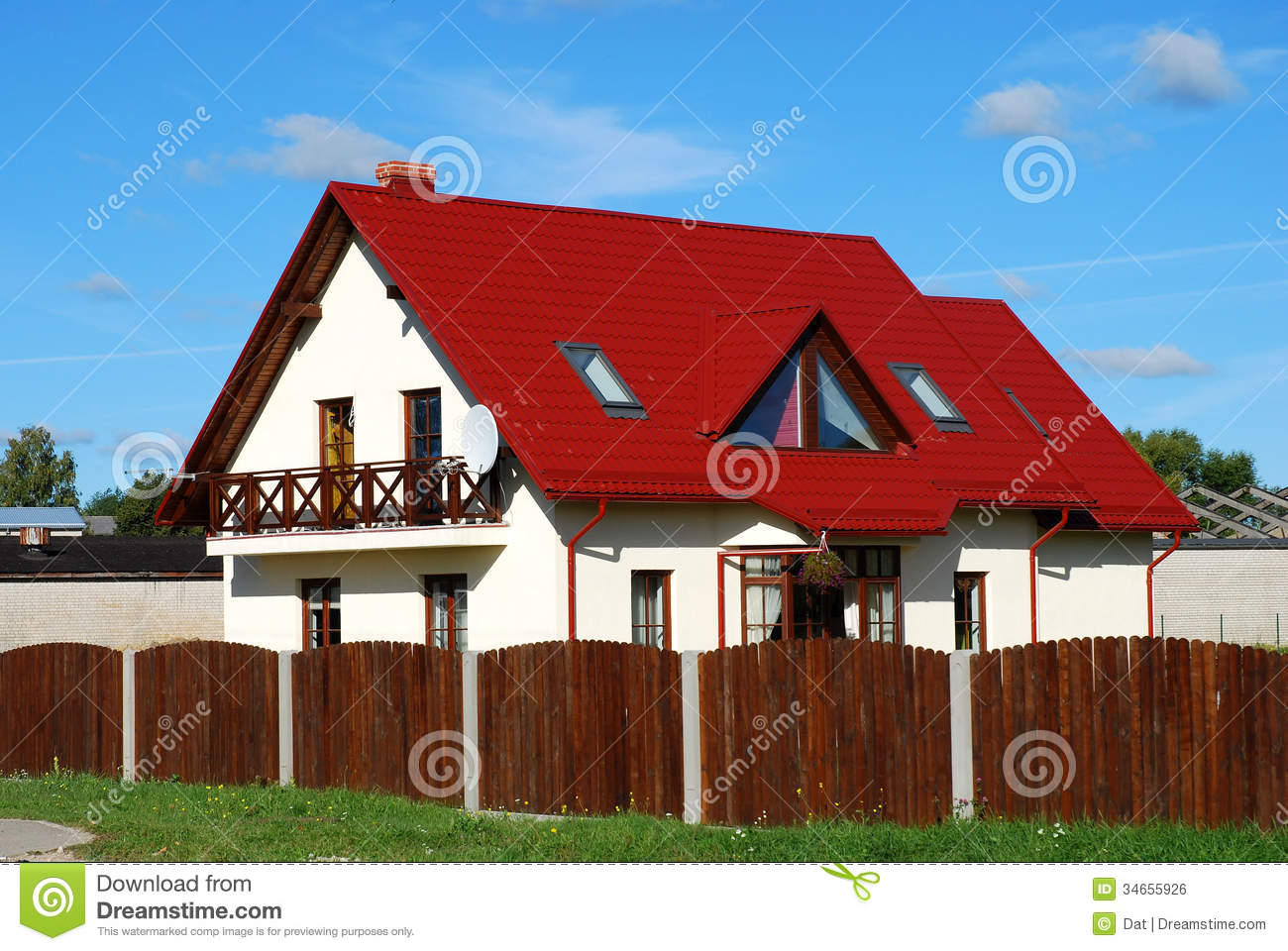 Red roof house