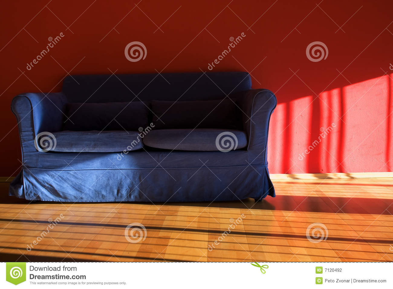 Cool Red Room With Blue Sofa Stock Photo Image Of Down Decor Interior Design Ideas Oxytryabchikinfo