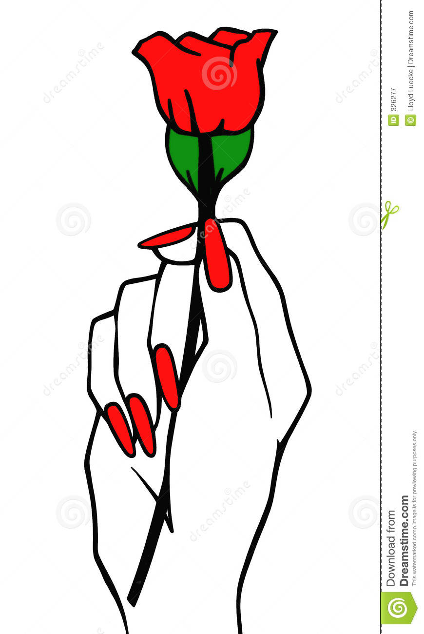 Red rose royalty free stock photography image 326277 for Hand holding a rose drawing