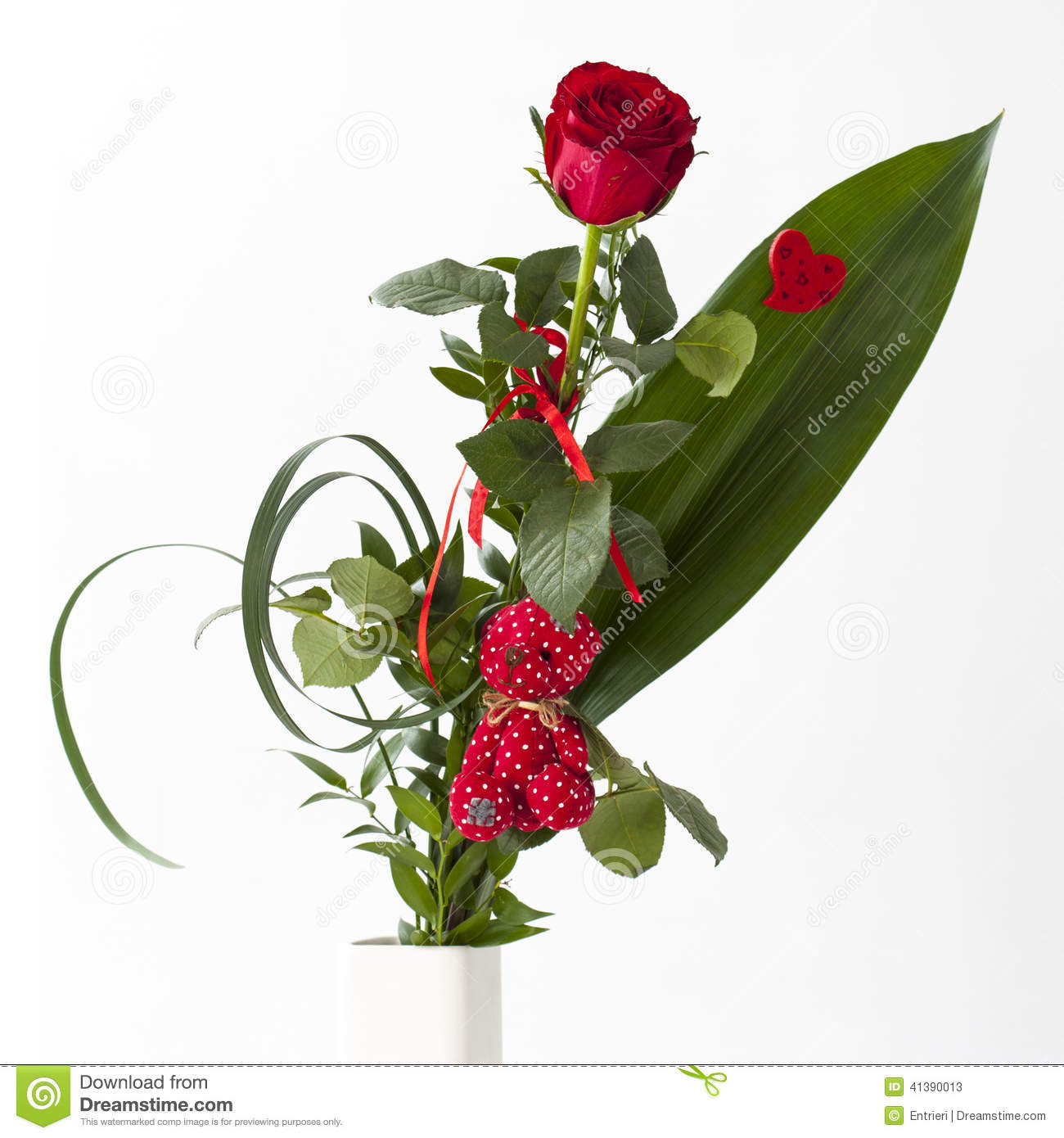 Red rose bouquet with red teddy bear stock photo image 41390013 - Bouquet de rose artificielle ...