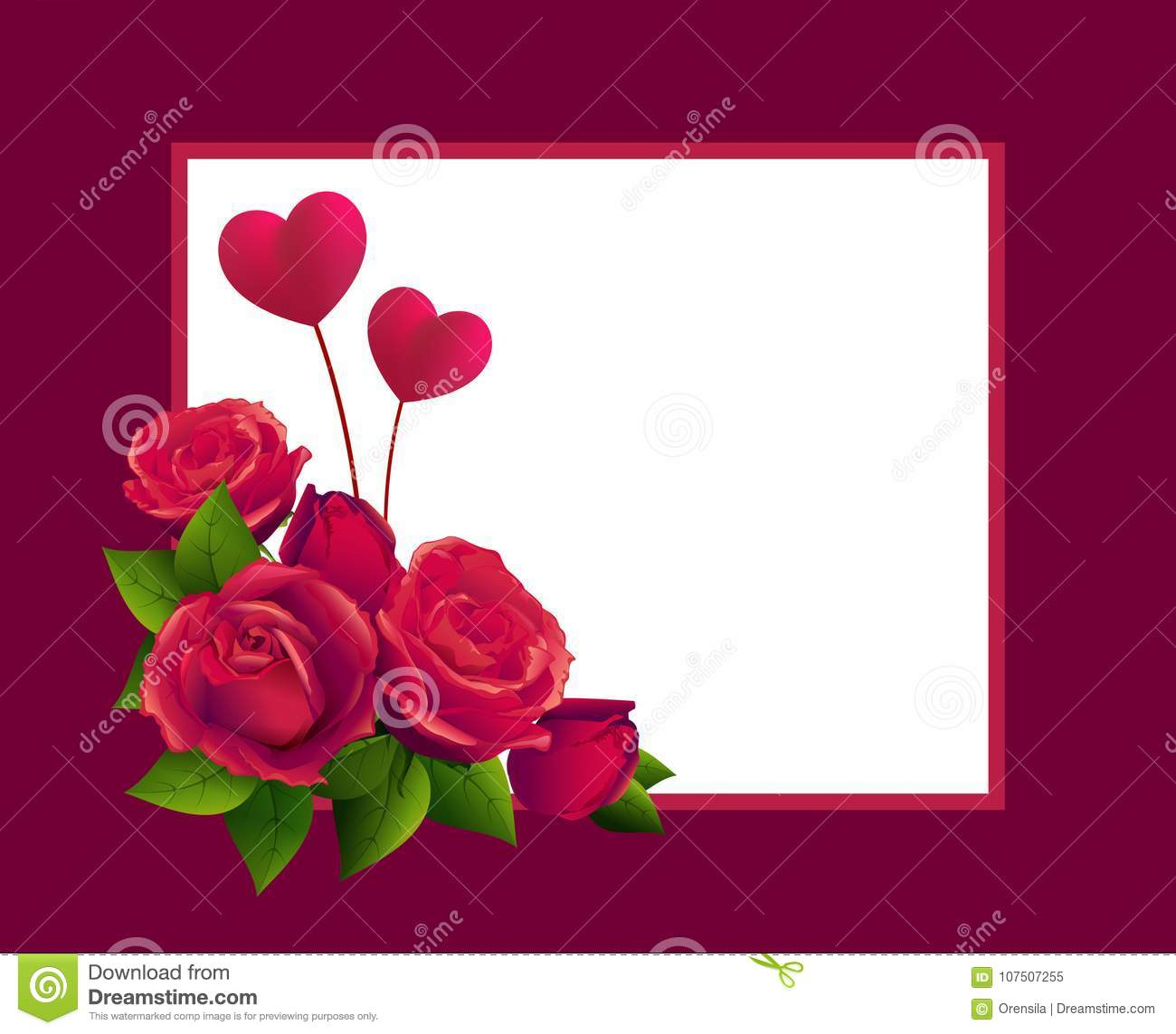 Red Rose Bouquet And Two Heart Shape Template Greeting Card For