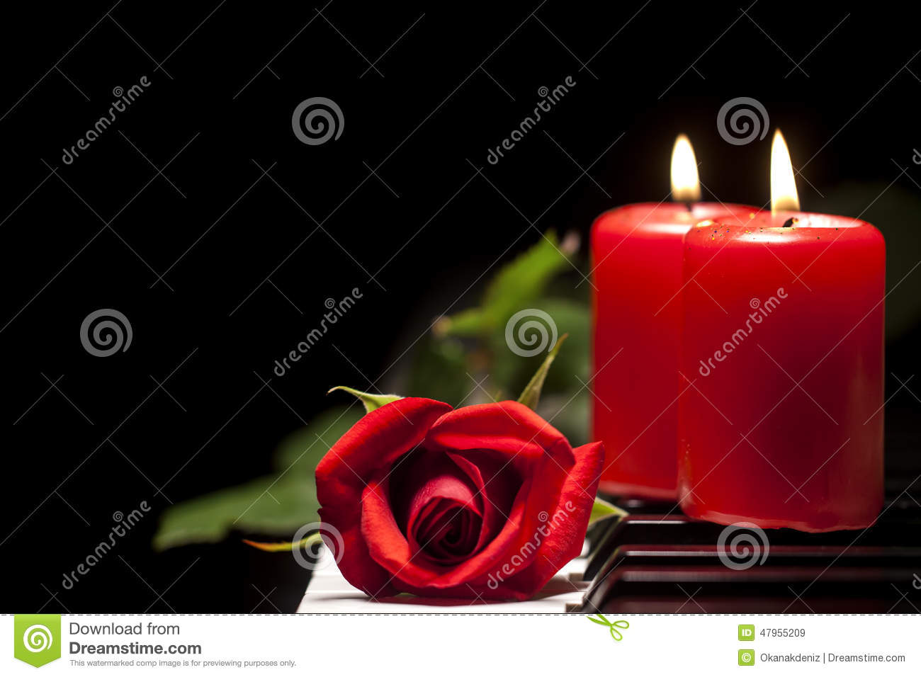 Red Rose And Candle On Piano Keys Stock Photo Image