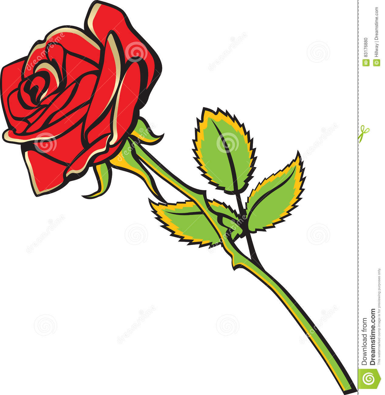 Red Rose Cartoon Style Illustration Decoration Tattoo Stock