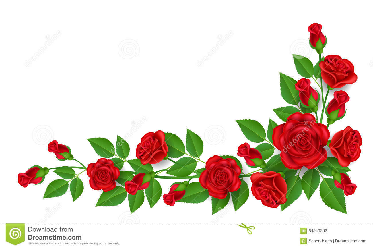 Red rose decoration for corner stock vector illustration for Decoration rose