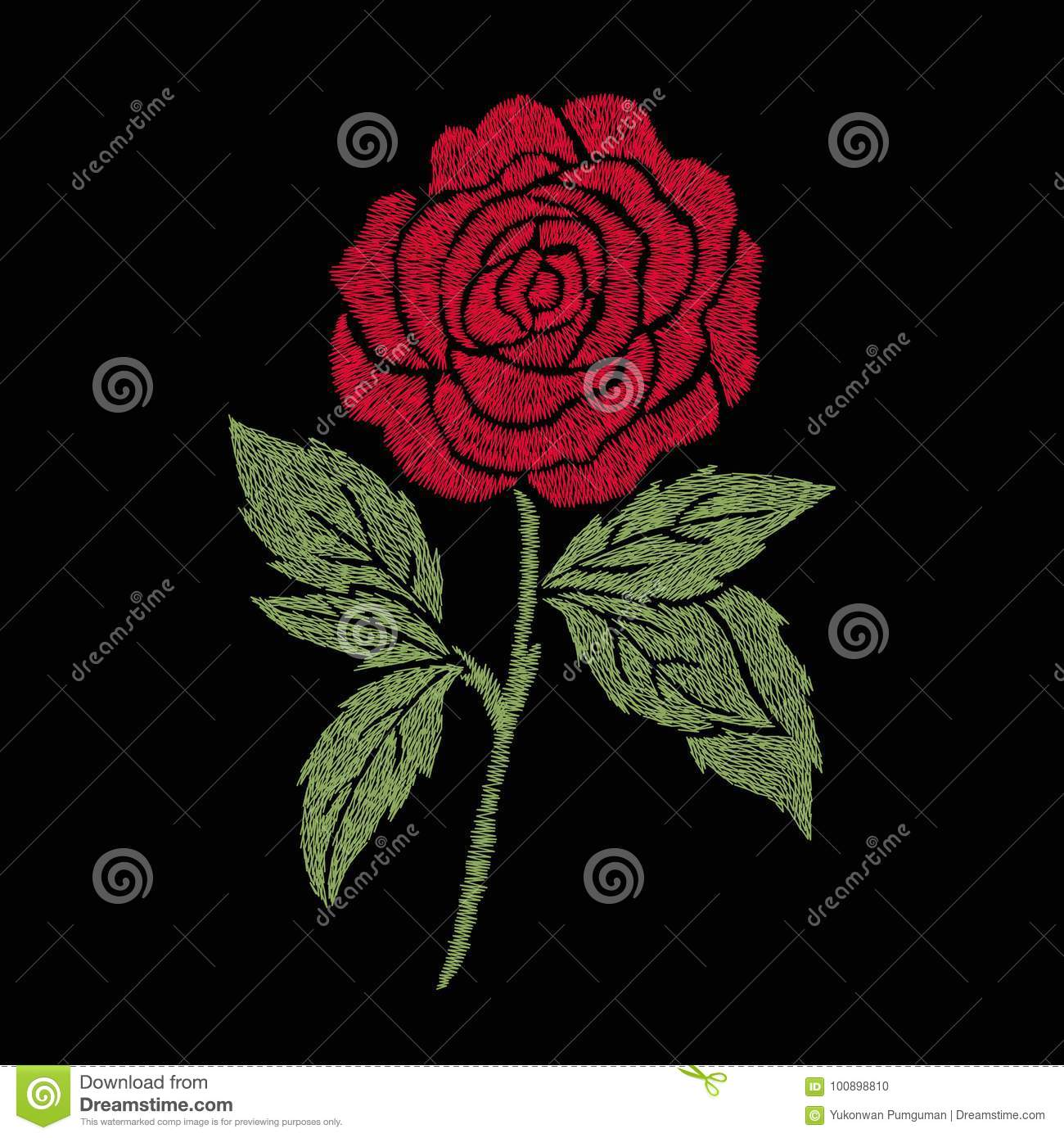 Red Rose Embroidery Artwork Design For Clothing Isolated Flower