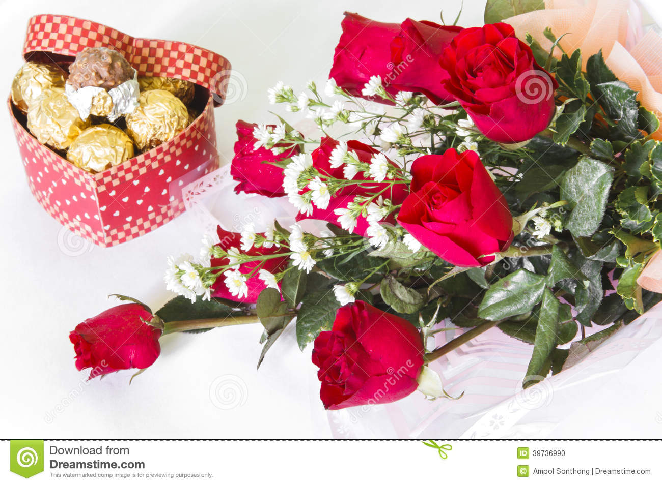 Red Rose Flower Bouquet With Chocolate Ball Stock Photo - Image of ...