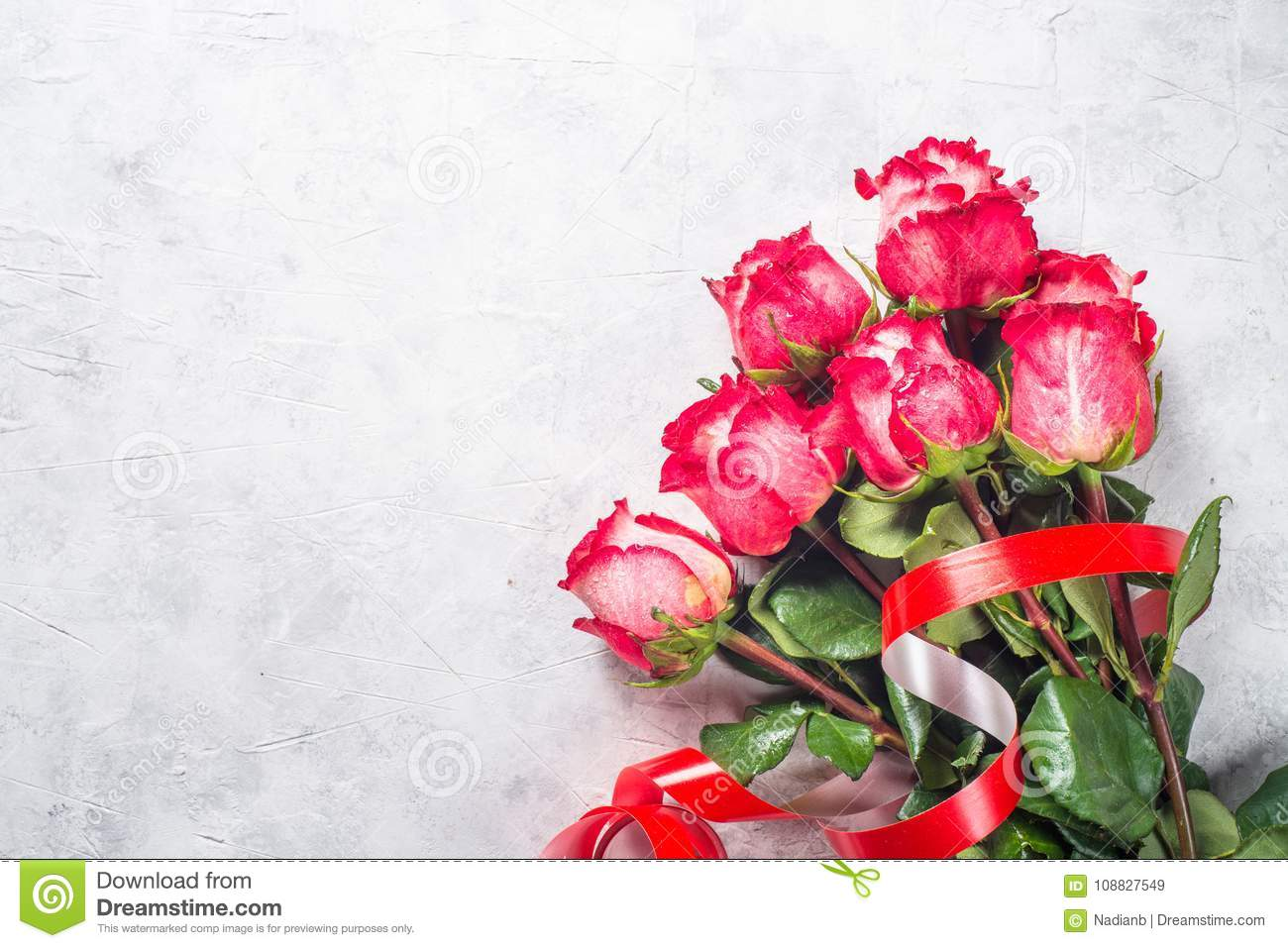 Red Rose Flower Bouquet On Stone Table Stock Image Image Of