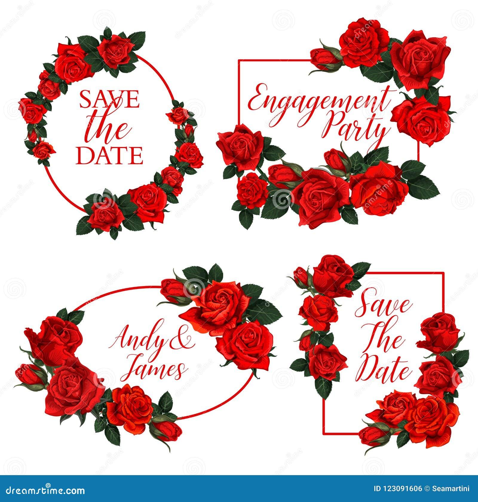 Red Rose Flower Frame Of Wedding Invitation Design Stock Vector ...