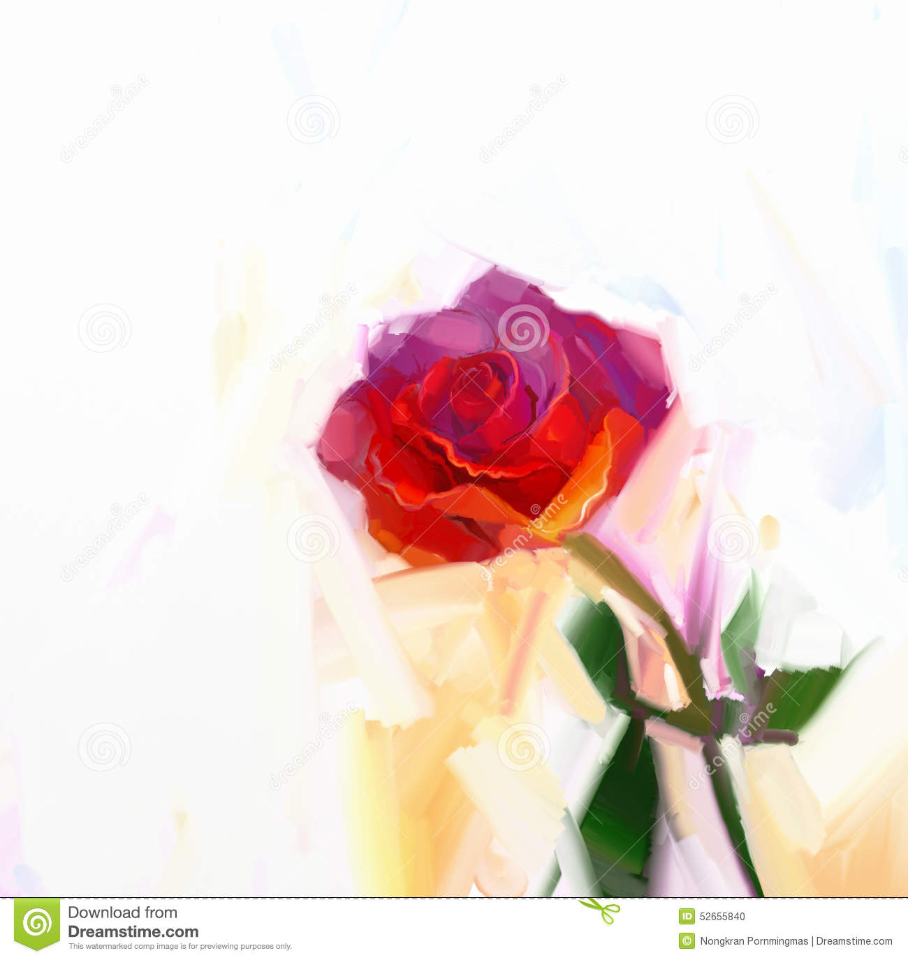 Red Rose Flower With Green Leaf Oil Painting. Stock Illustration ...