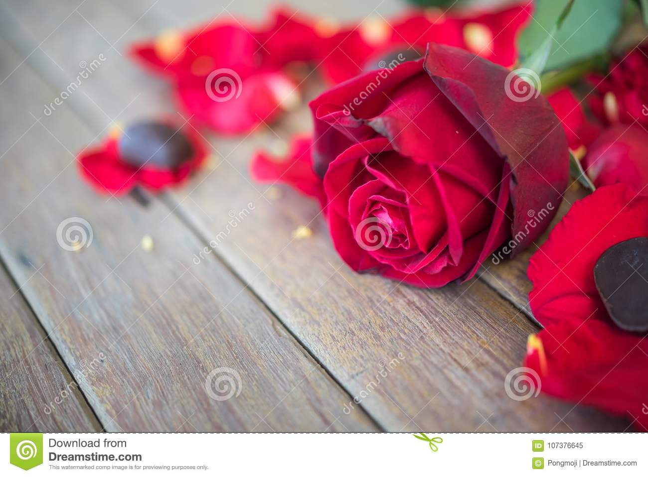 Red Rose Flower On Wooden Floor In Valentine S Day Stock Image