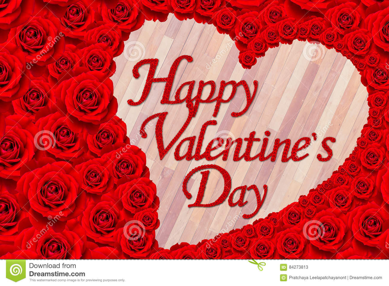 Red Rose Flower Set In Word Happy Valentinea S Day Stock