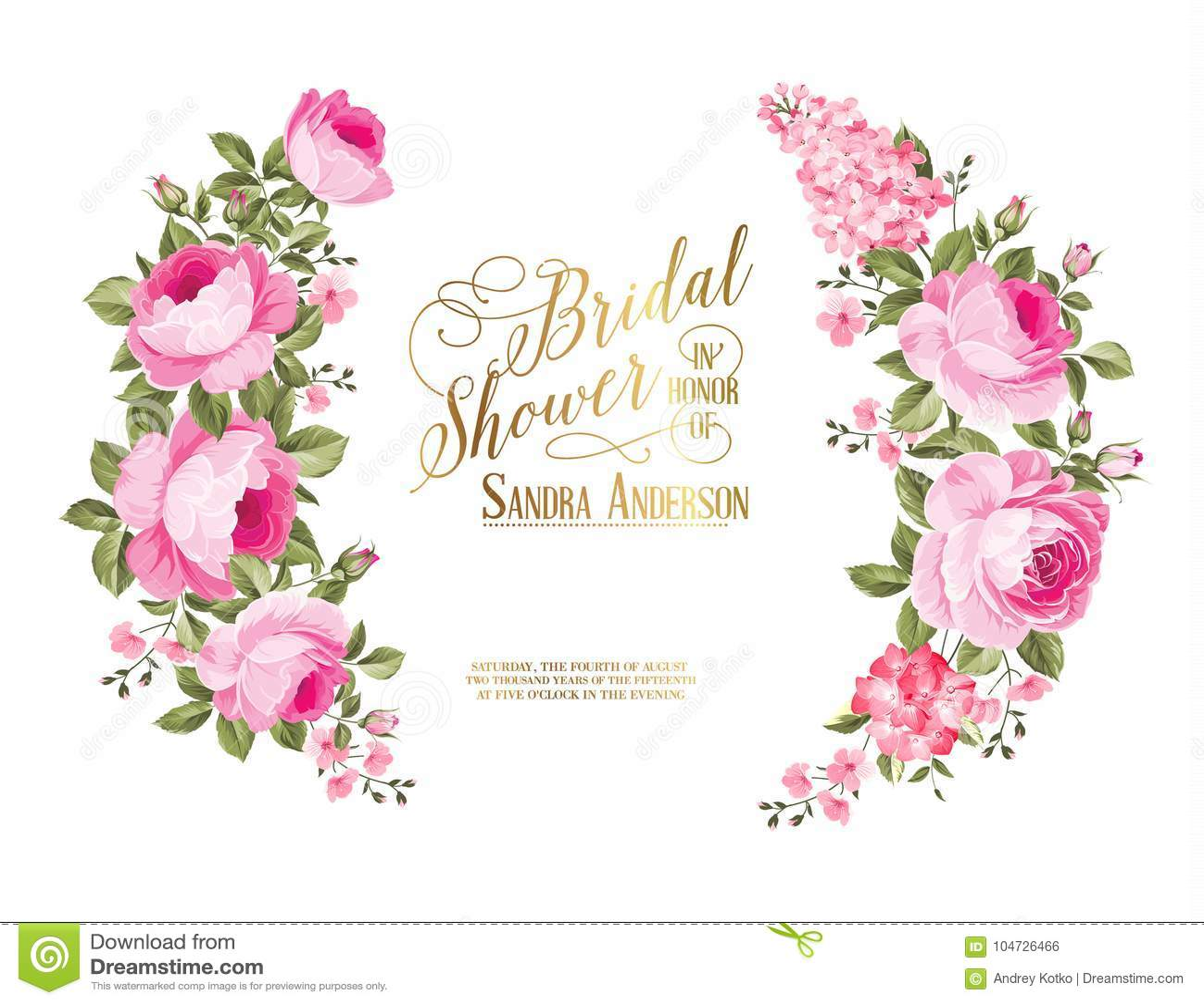 4f3668cb0e5 The Bridal Shower Invitation. Stock Vector - Illustration of leaf ...
