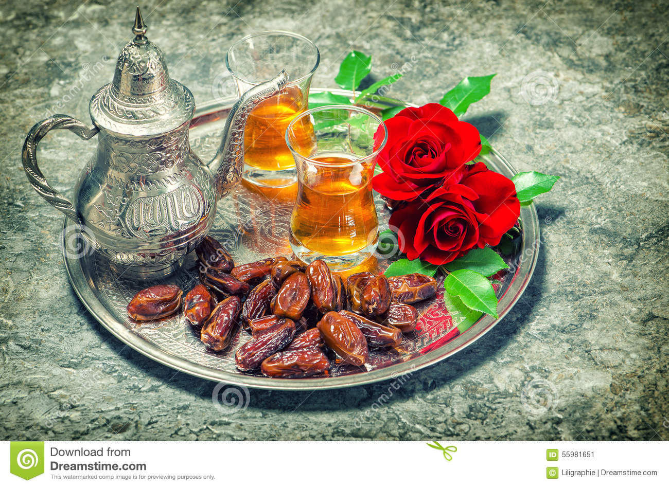 Red Rose Flowers With Tea And Dates Fruits Ramadan