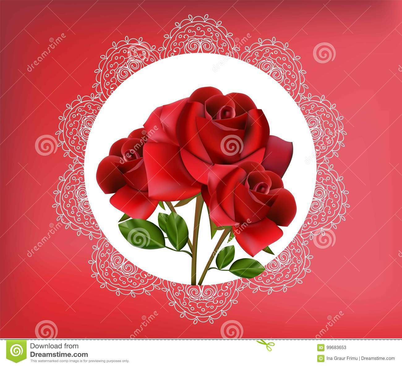 Red Rose Flowers In Vintage Lace Frame. Vector Illustration For ...