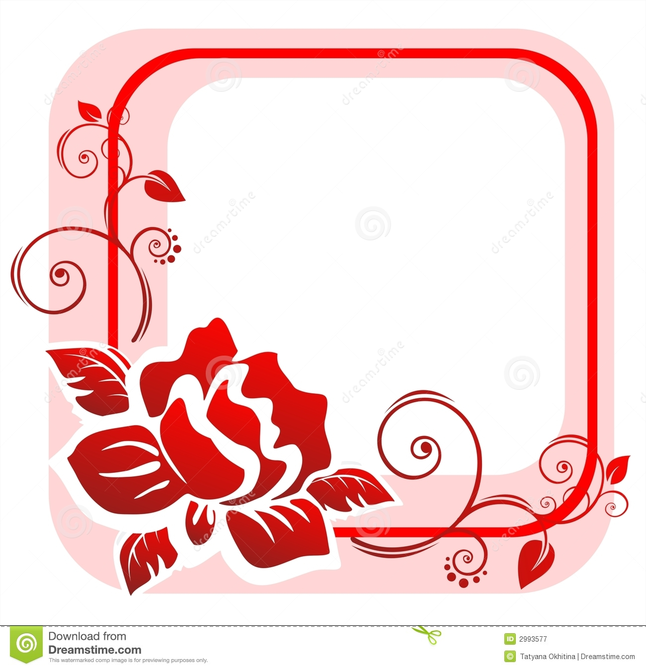 The pink frame from the red stylized rose with decorative curls.