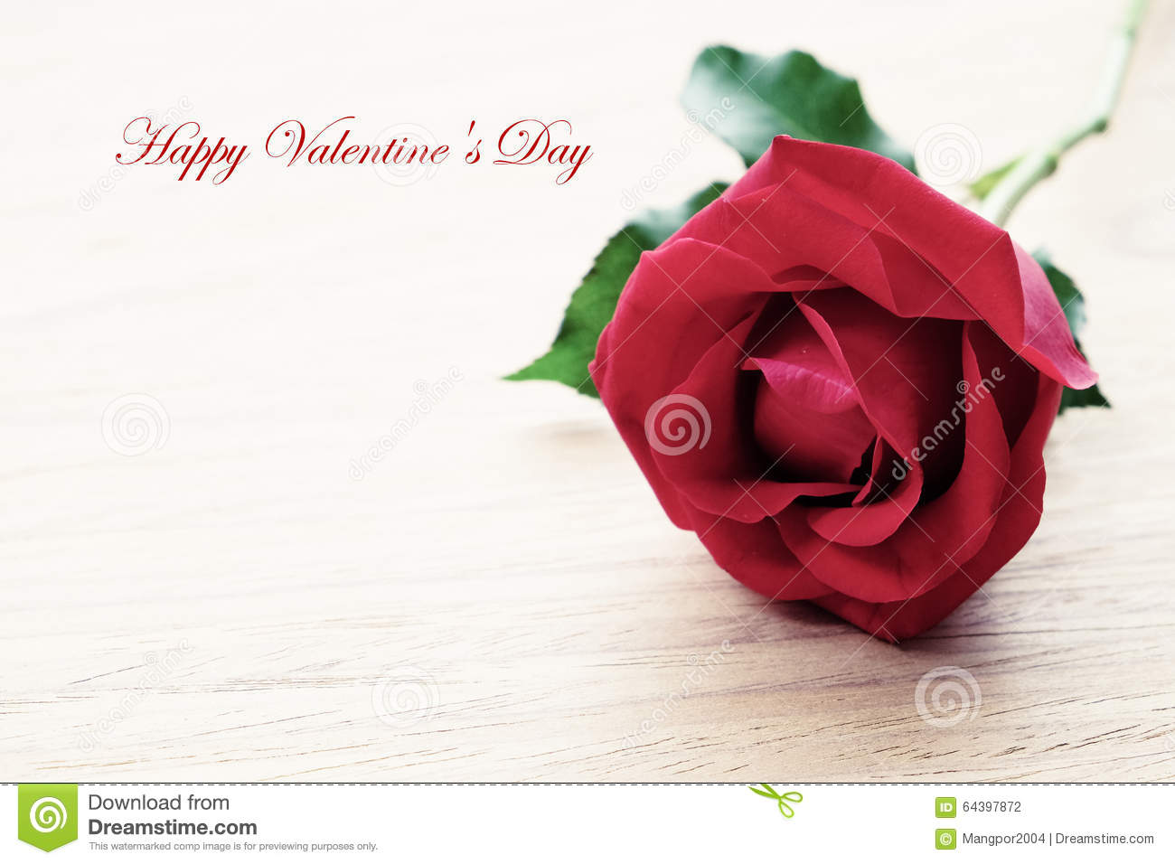Red Rose And Happy Valentine S Day Word With Copy Space Stock Photo