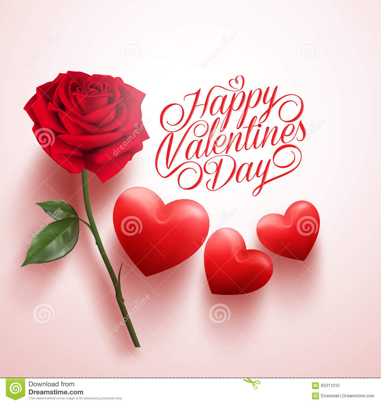 Red Rose and Hearts with Happy Valentines Day Message