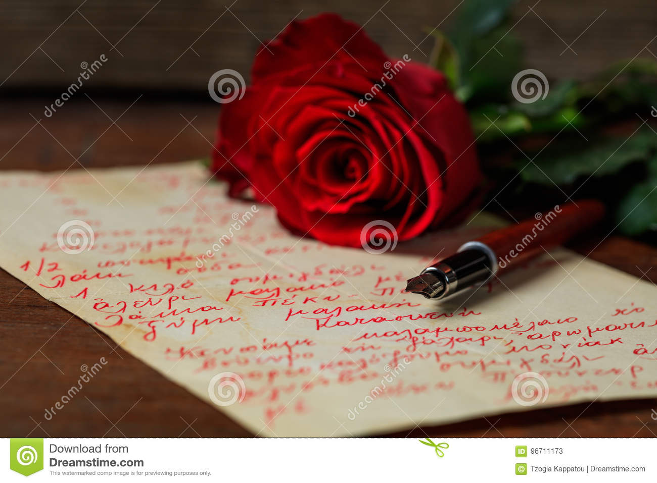 Red Letter Revival.Red Rose And An Ink Pen On A Letter Stock Image Image Of Revival