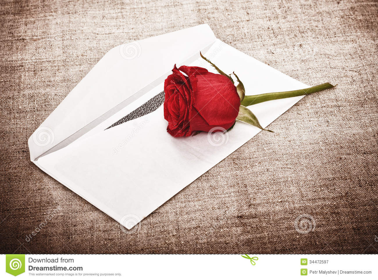 Red Rose And Letter Royalty Free Stock Photography - Image: 34472597