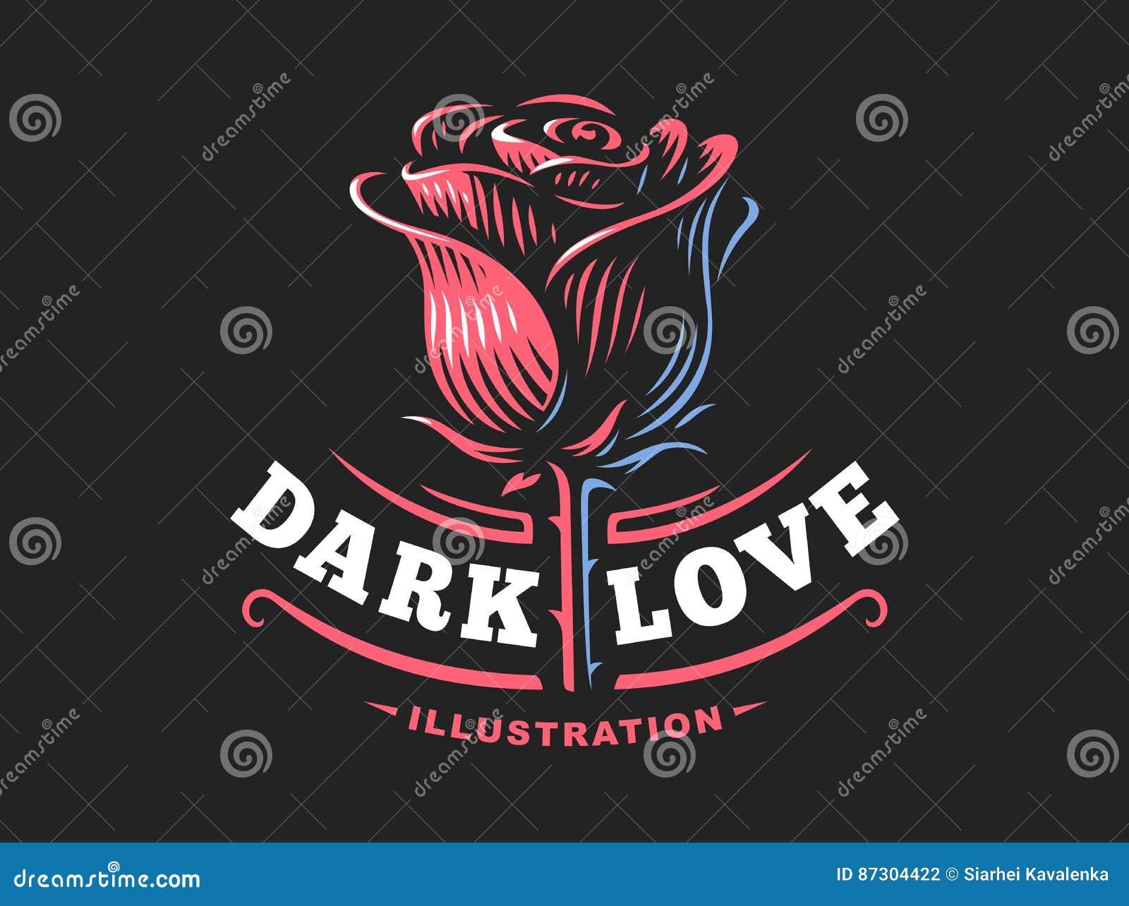 Red Rose Logo Vector Illustration Emblem On Dark Background Stock