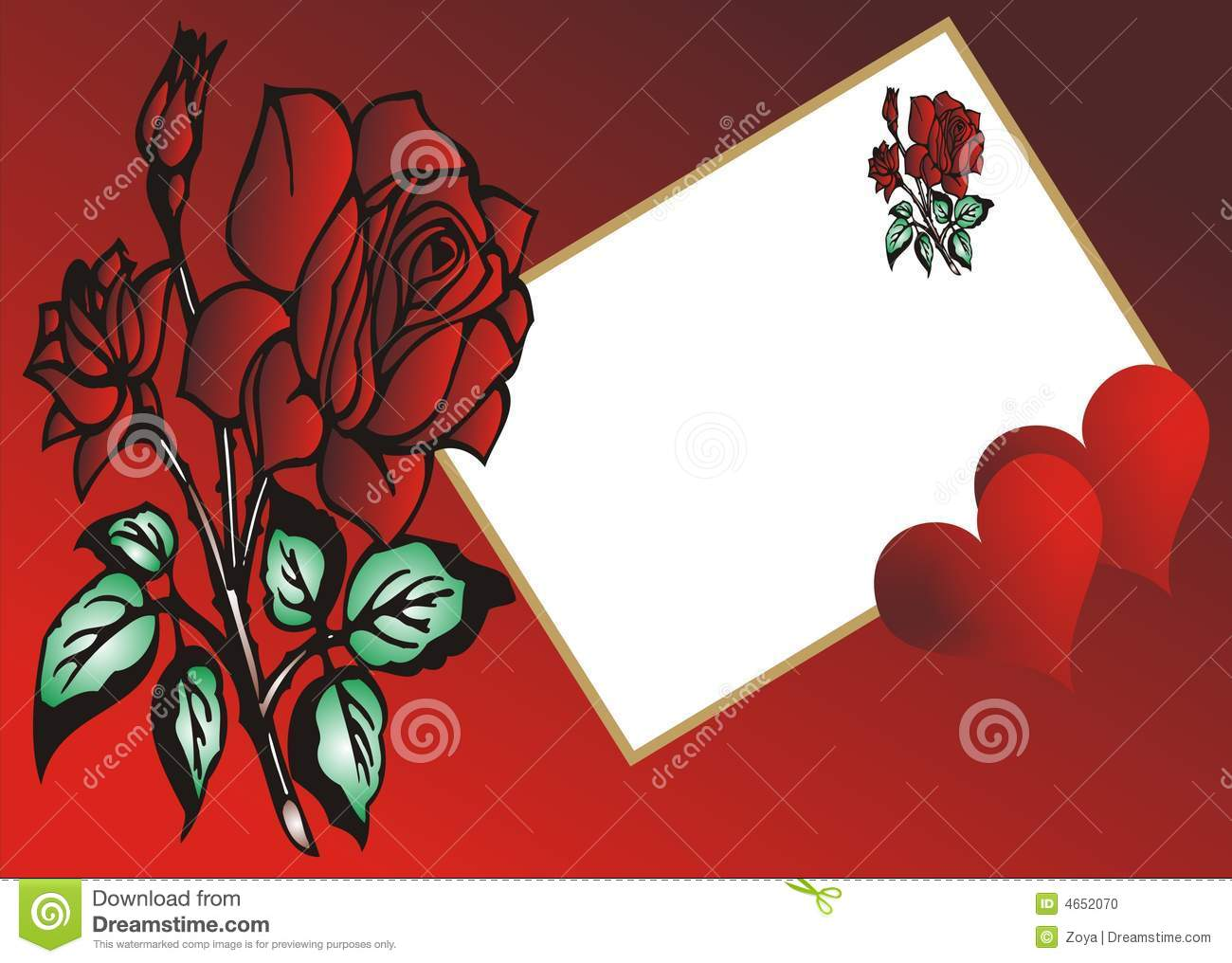 Red Rose Love Greeting Card Stock Illustration Illustration Of