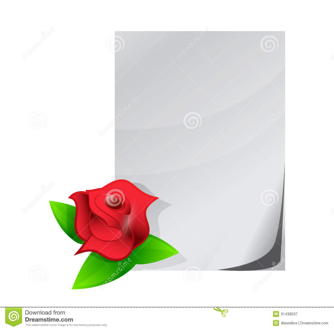 Red Rose Love Letter Illustration Design Royalty Free