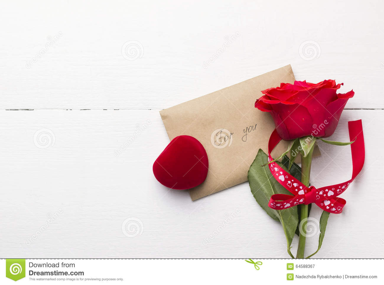 Red Rose Love Message Casket With A Ring Stock Photo