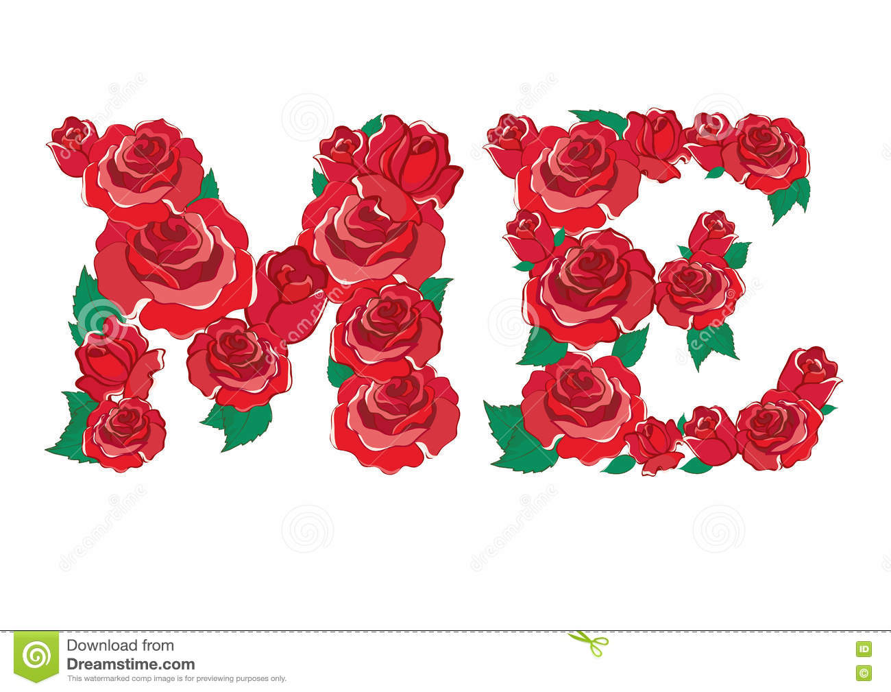 Red Rose In ME Alphabet Vector Stock Vector - Image: 75441867