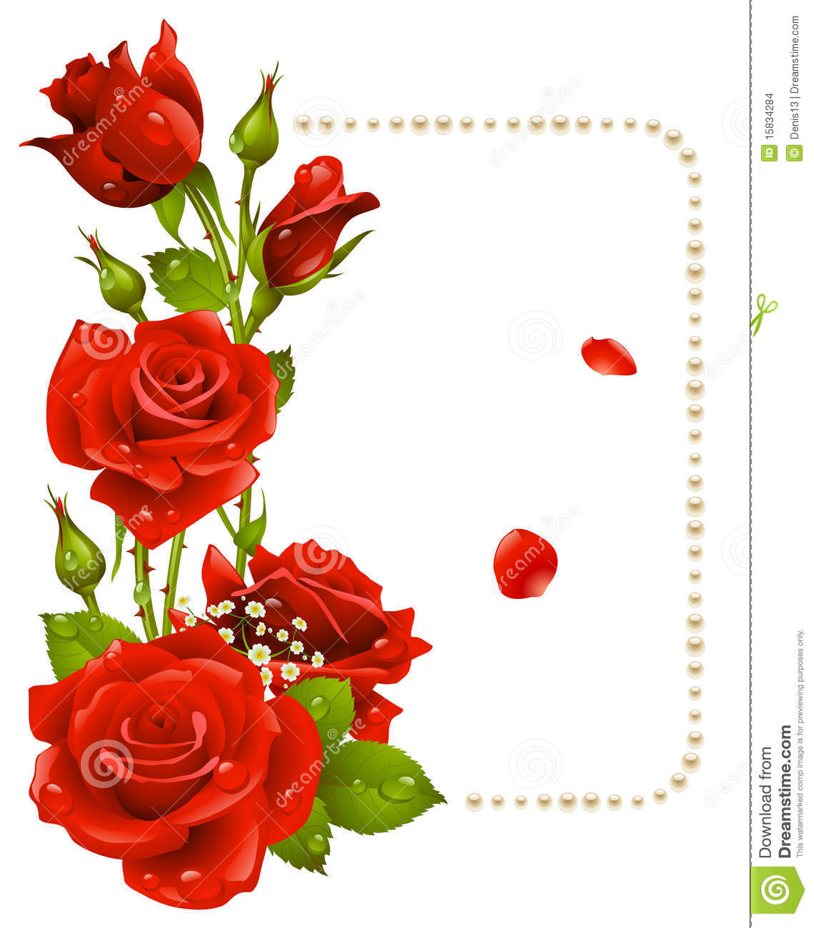 Red rose and pearls frame