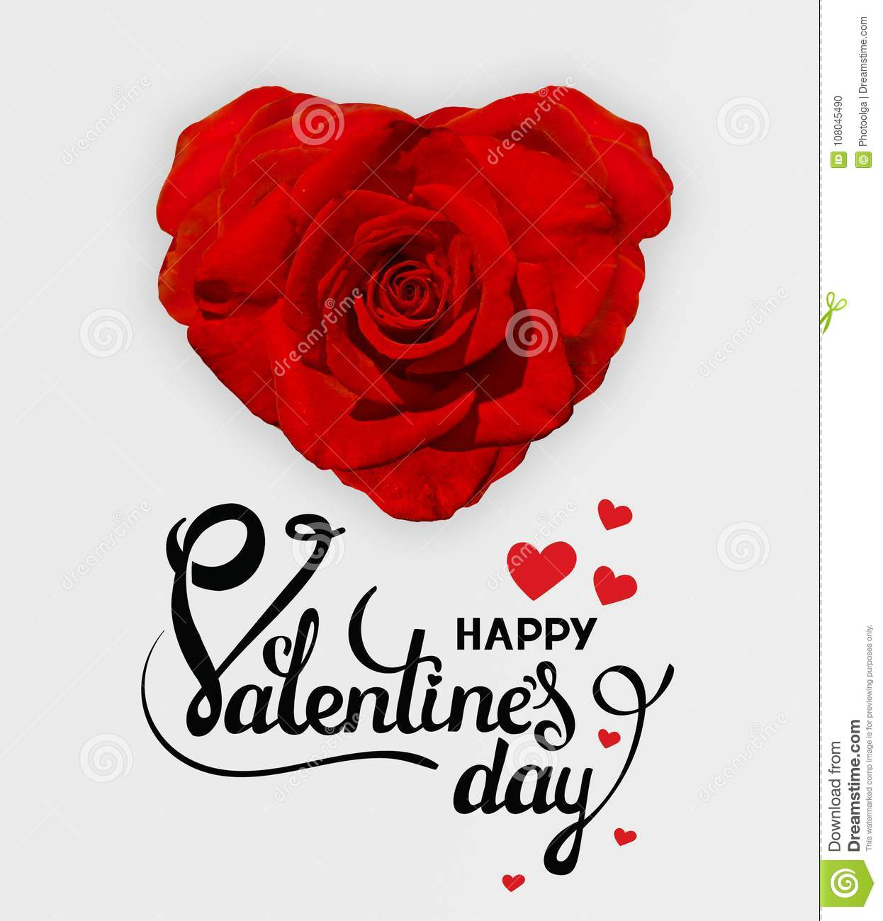 red rose in the shape of a heart happy valentines day card with