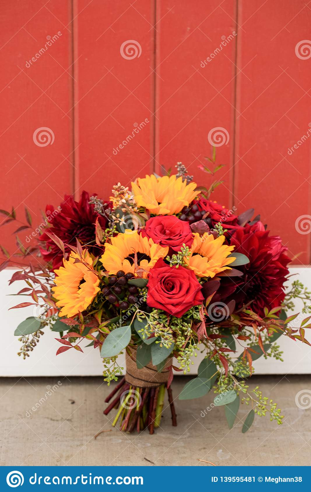 Red Rose And Sunflower Wedding Bouquet Stock Image Image Of Flower