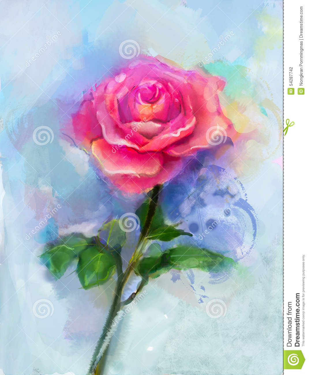 Red Rose Watercolor Painting Stock Illustration Illustration Of