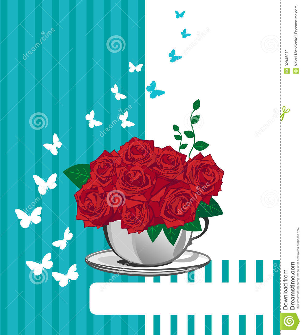 Red Rose In A White Cup Happy Birthday Card Stock Vector