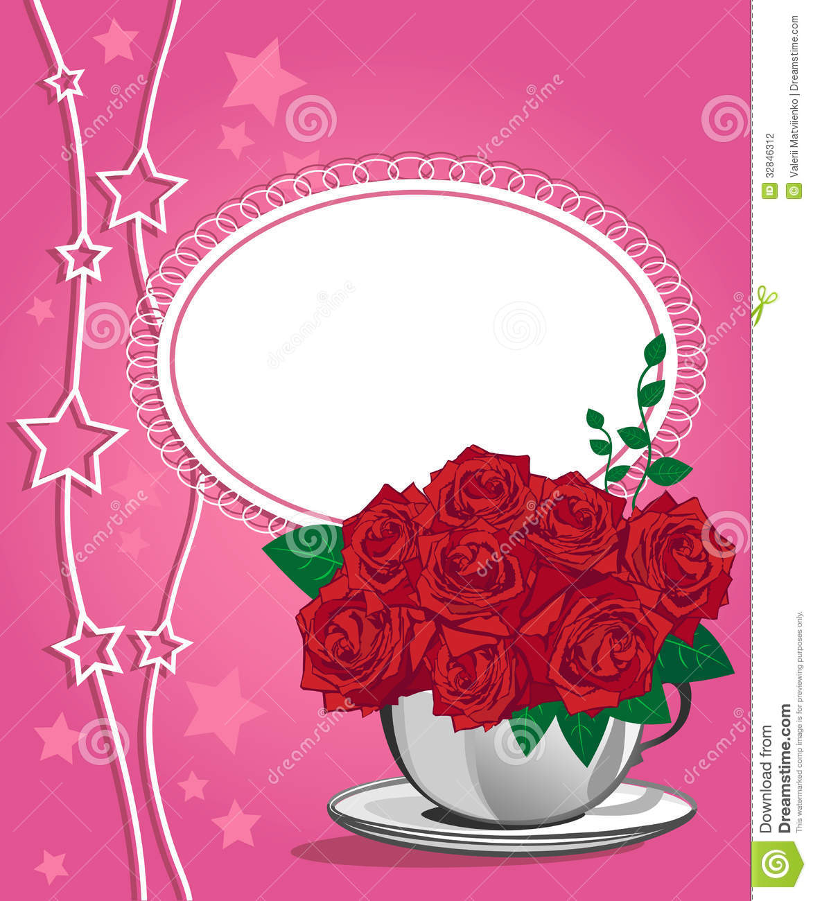 Red Rose In A White Cup. Happy Birthday Card Stock Photography ...