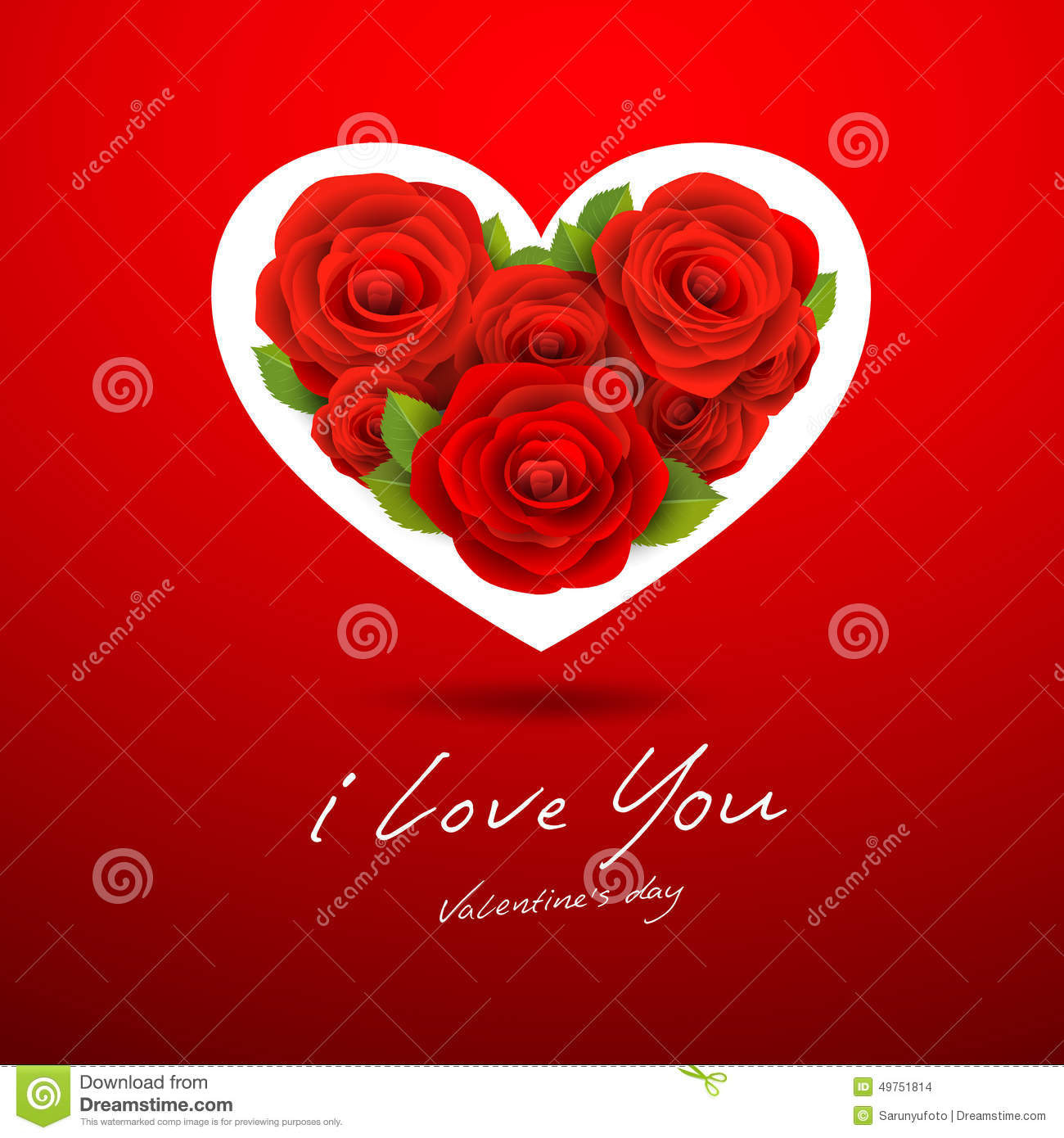Red Rose White Heart Happy Valentines Day Stock Illustration