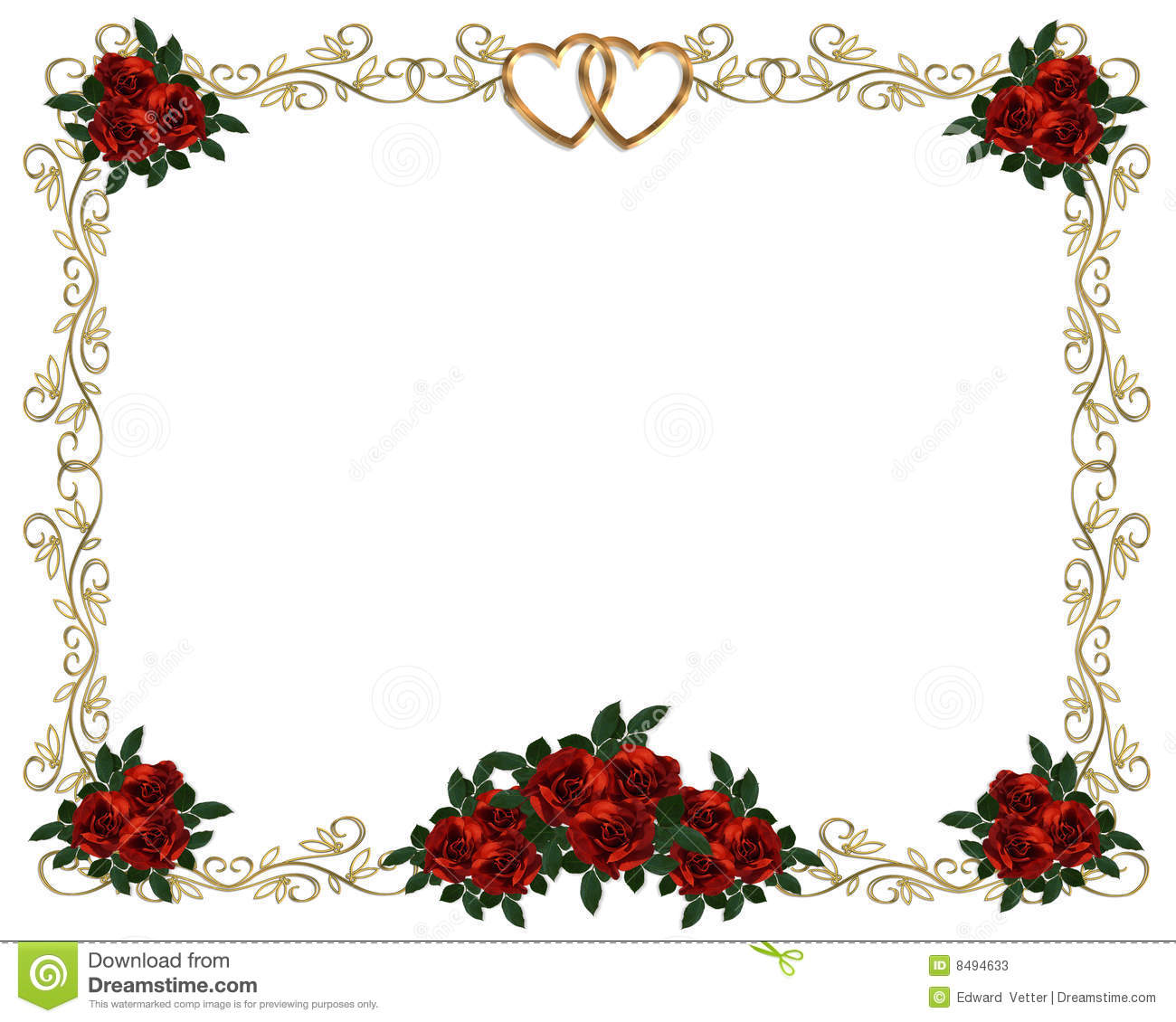Red Roses Border Wedding Invitation Stock Illustration