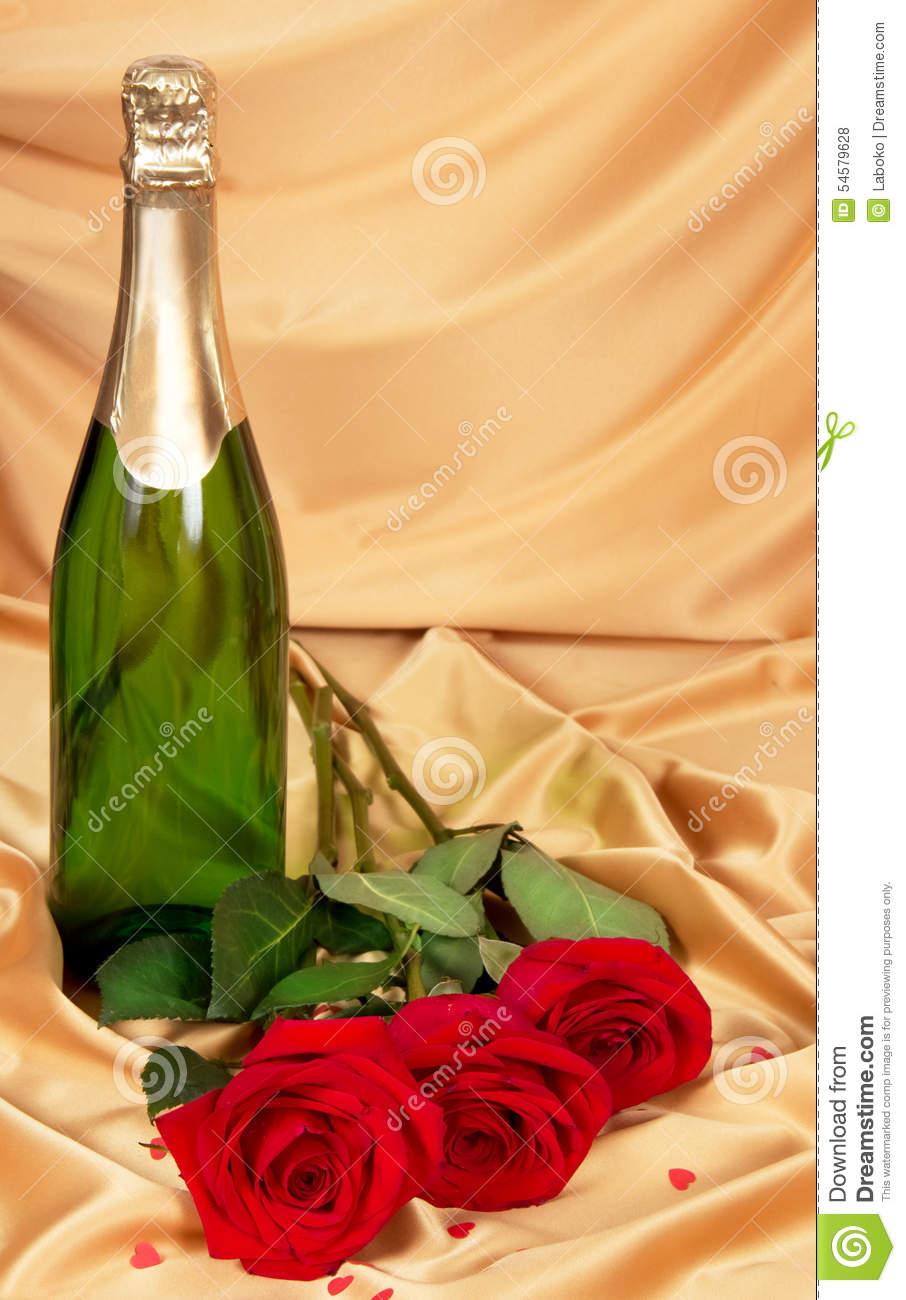 Red Roses And Bottle Of Champagne Stock Photo Image Of Happy