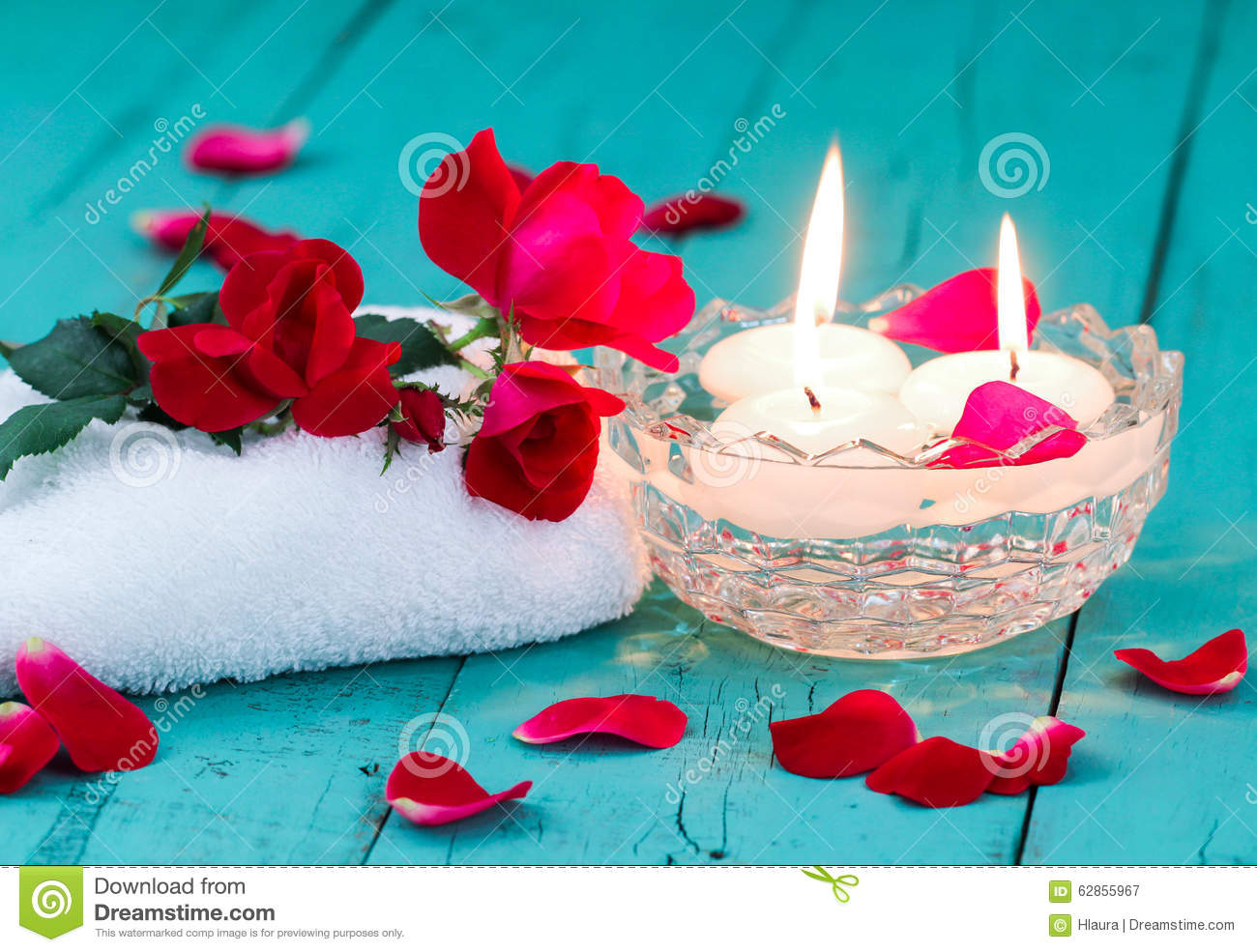 Red Roses And Candles On Teal Blue Wood Background Stock Image ...