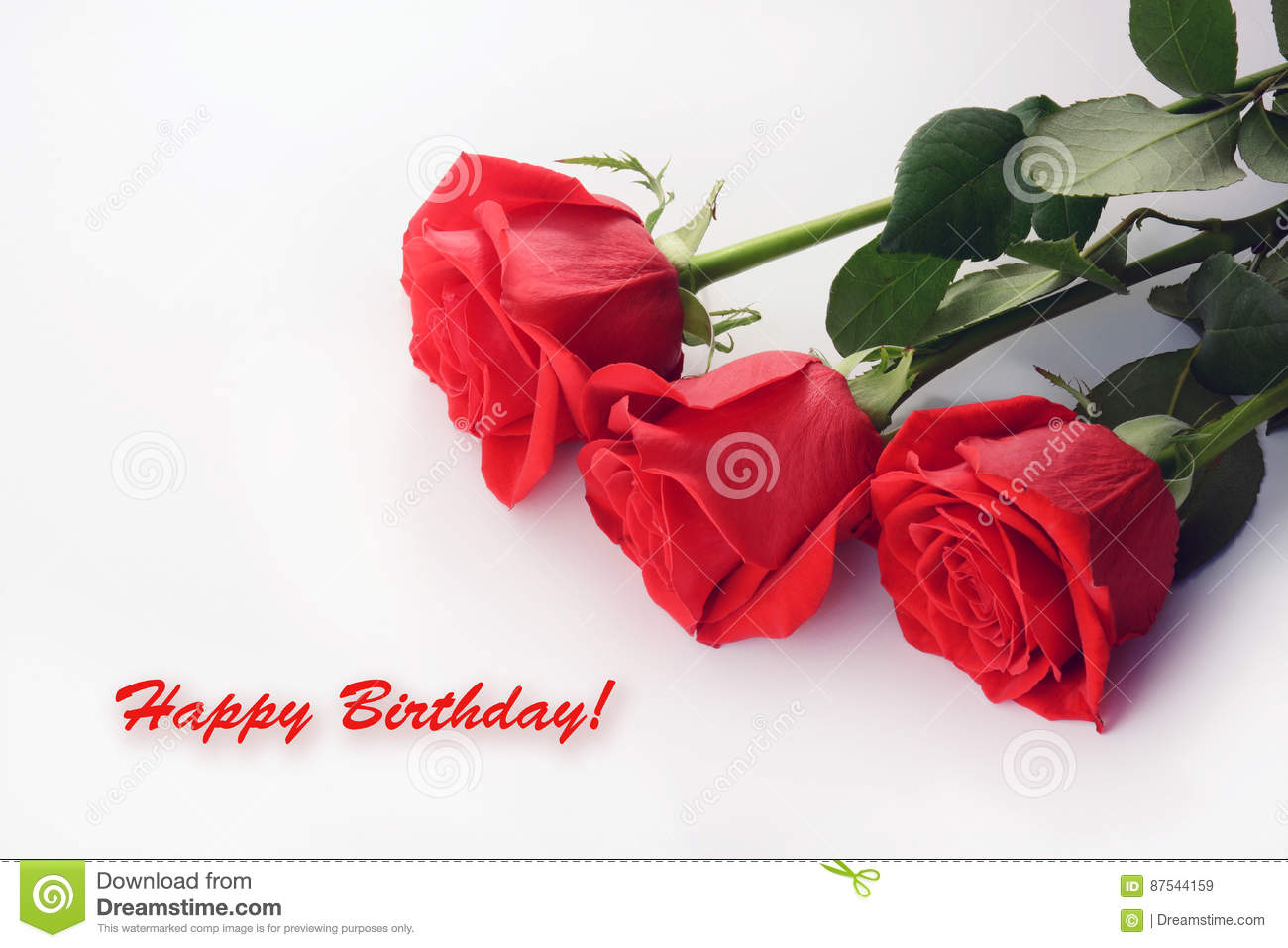 Red Roses Close Up Beautiful Bouquet Happy Birthday Card
