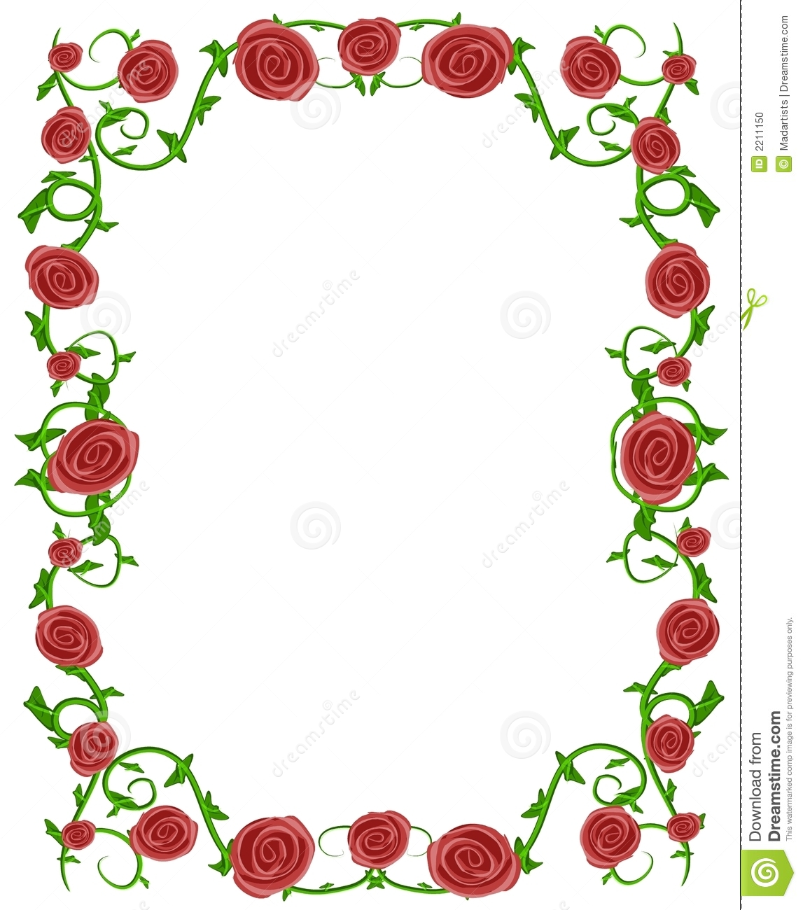 red and pink roses frame border for creating borders on paper or for