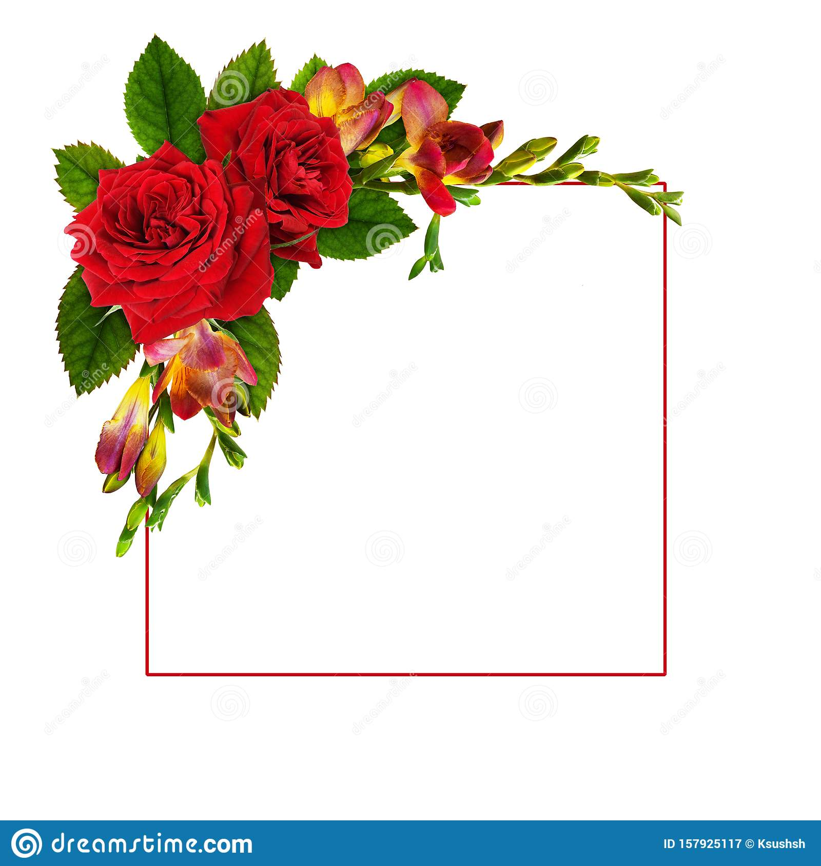 Red Roses And Freesia Flowers In A Floral Corner Arrangement With A Frame Stock Image Image Of Arrangement Damask 157925117