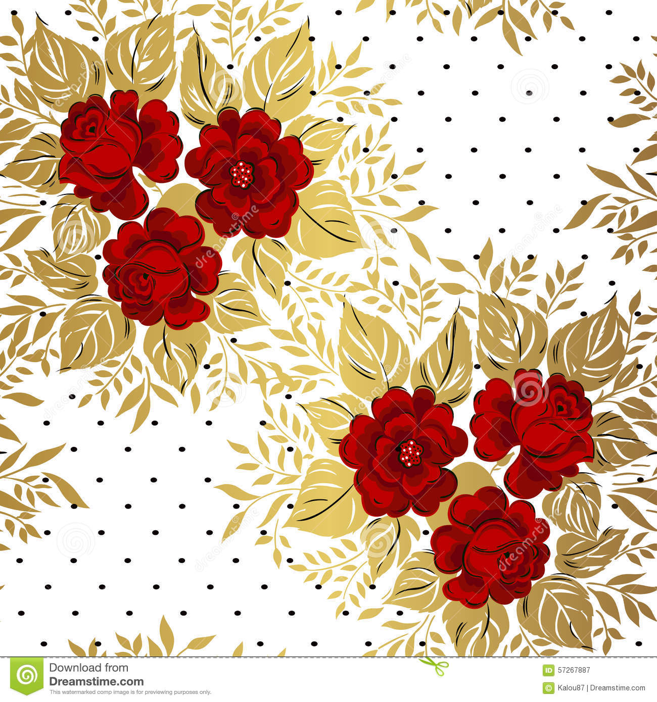 Red Roses On Gold Background Floral Pattern Stock Vector