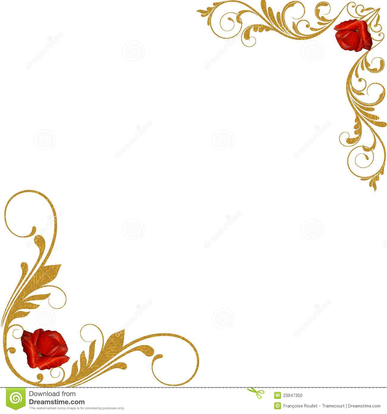 Red Roses Gold Decorative Corners Illustration 23947350