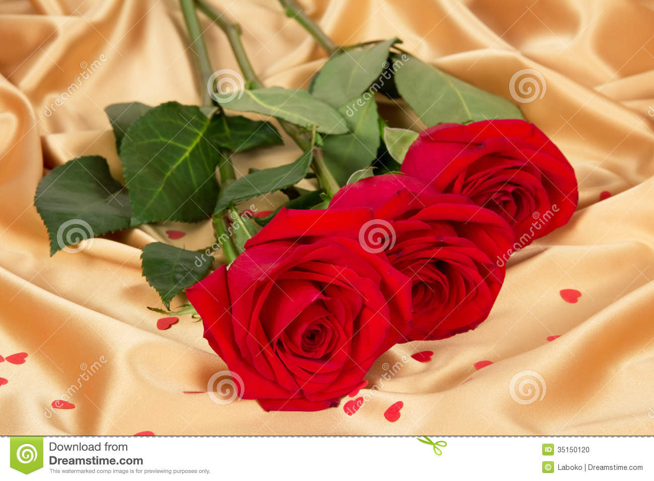 red roses on gold textile stock photo  image, Beautiful flower